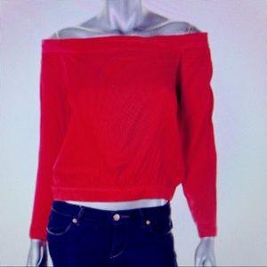 Bardot off the shoulder satiny red top